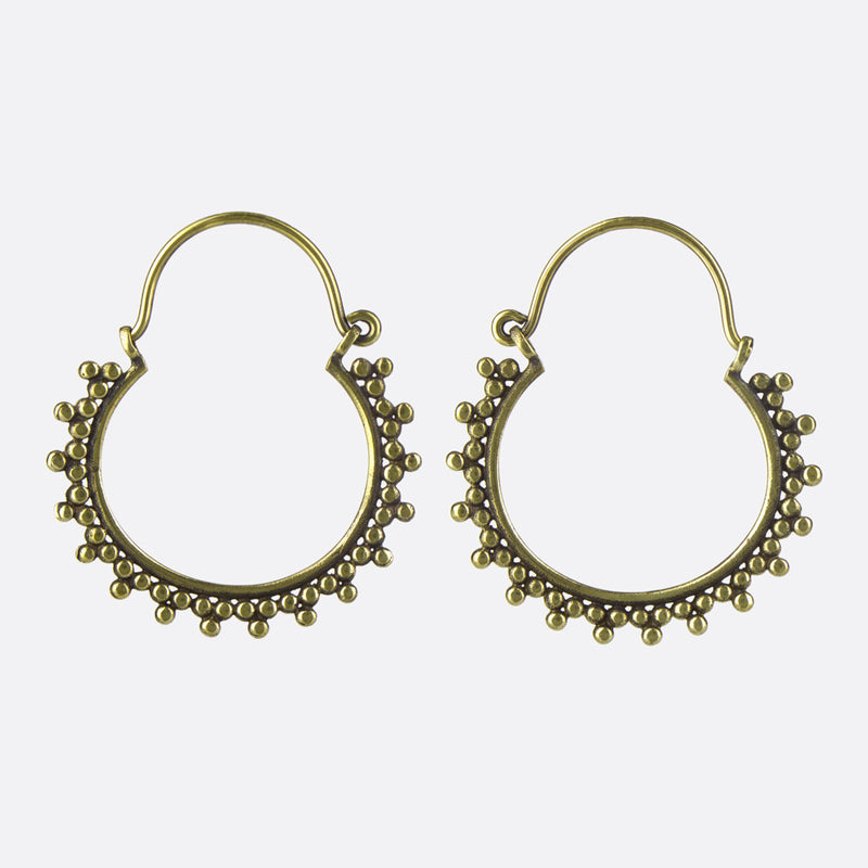 Dotted Hoop Earrings- Medium