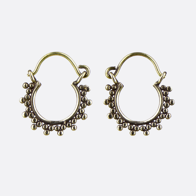 Dotwork Indian Hoop Earrings- Small