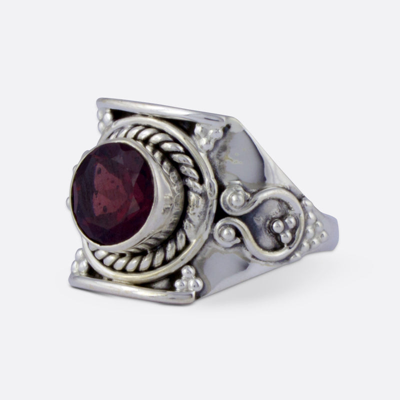 Equinox Ring- Ruby Garnet & Sterling Silver