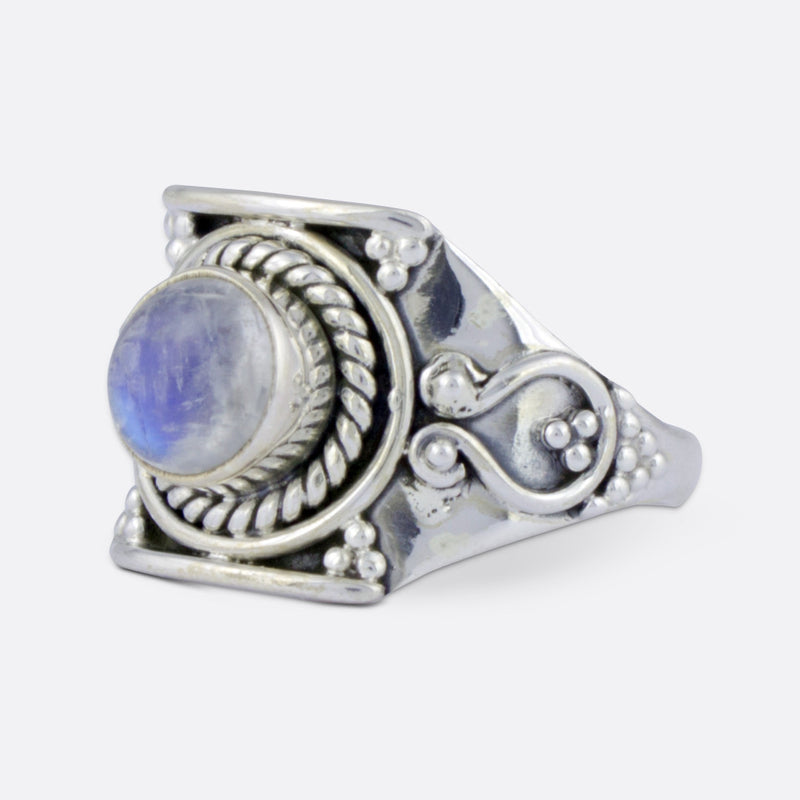 Equinox Ring- Blue Fire Moonstone & Sterling Silver