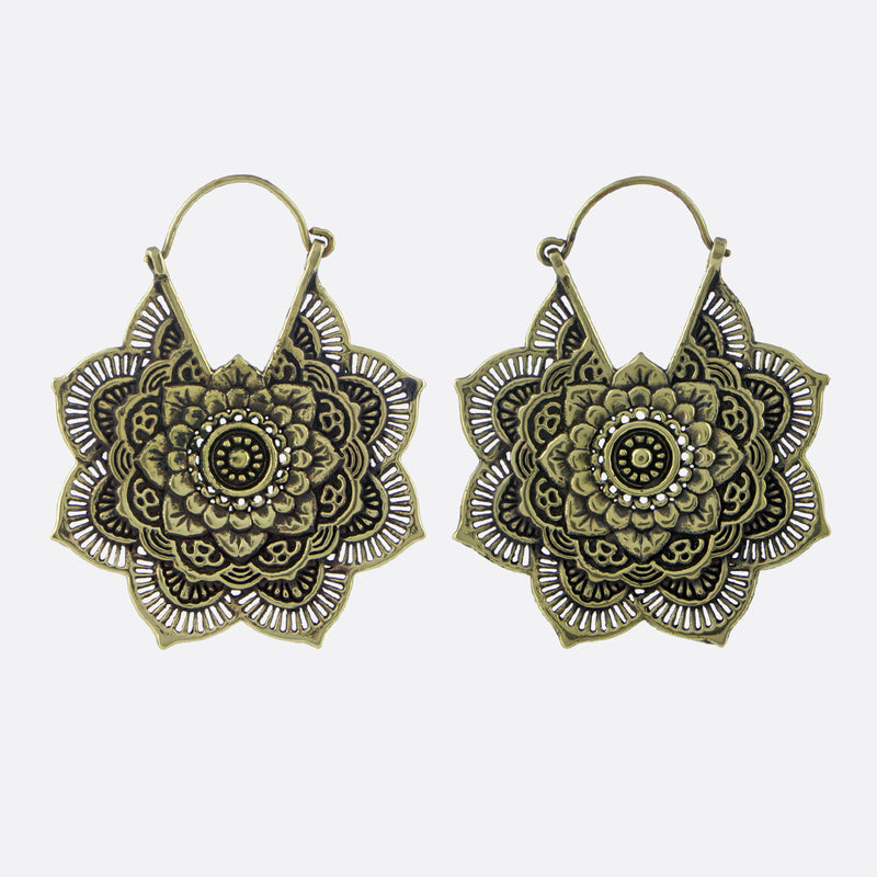 Large Mandala Flower Earrings