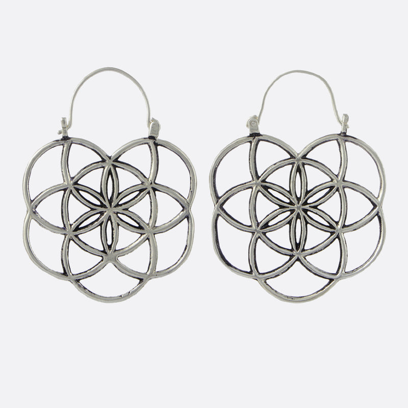 Flower of Life Earrings- Silver