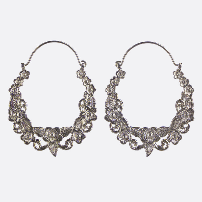 Gardenia Hoop Earrings- Silver