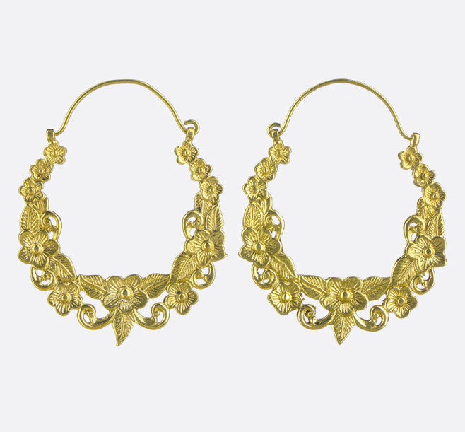 Gardenia Hoop Earrings- Gold