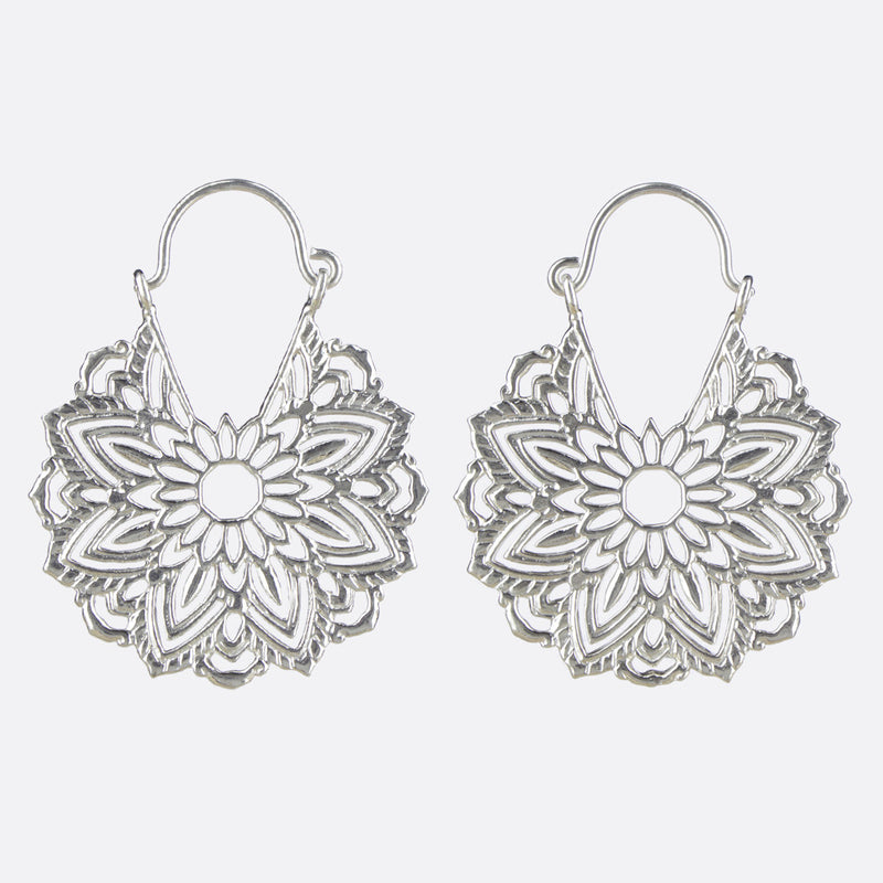 Geometric Mandala Flower Earrings- Silver