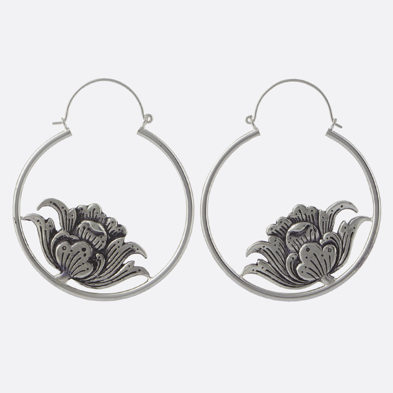 Hanging Lotus Earrings- Silver