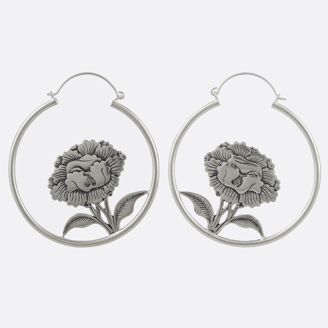 5cb001a4a Hanging Peony Earrings- Silver – NORBU