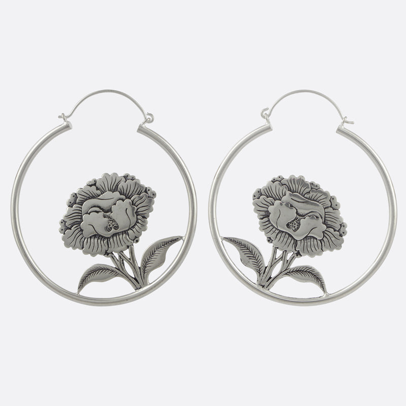 Hanging Peony Earrings- Silver
