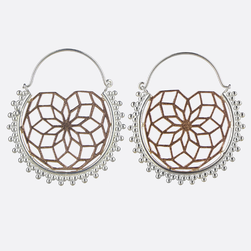 Harmony Geometric Earrings- Silver & Copper