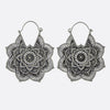 Large Mandala Flower Earrings- Silver