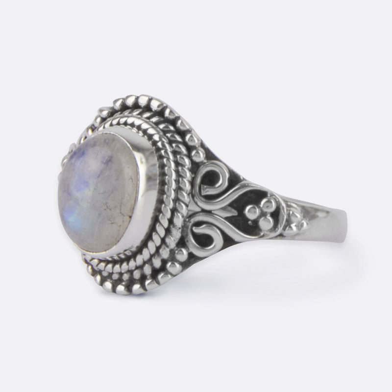 Lunar Rising Ring- Blue Fire Moonstone and Sterling Silver