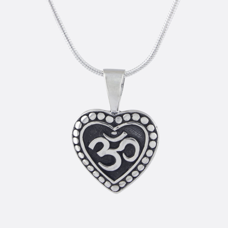 Om Heart Necklace- Sterling Silver