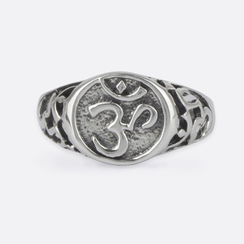 Om Signet Ring- Sterling Silver
