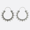 Ornamental Hoop Earrings- Silver