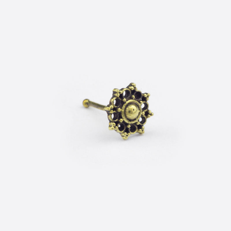 Mandala Flower Nose Stud- Bronze