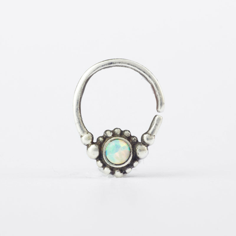Saura Septum Ring- White Opal & Sterling Silver