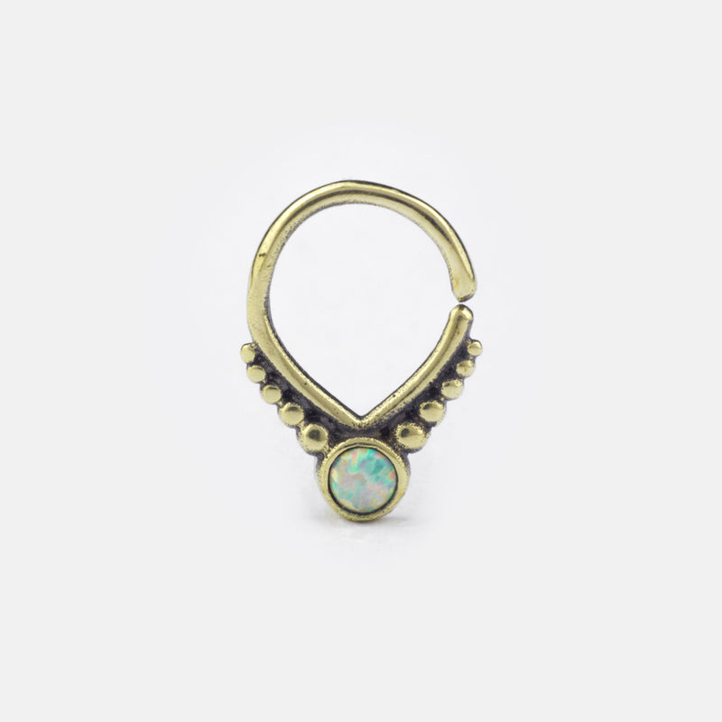 Svana Septum Ring- Opal and Bronze