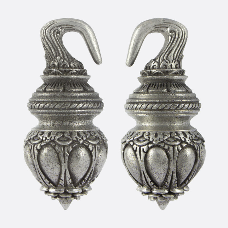 Temple Ornamental Ear Weights- Silver
