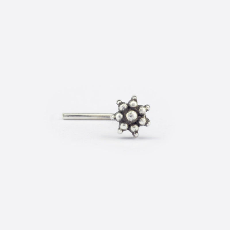 Dotted Flower Nose Stud- Sterling Silver
