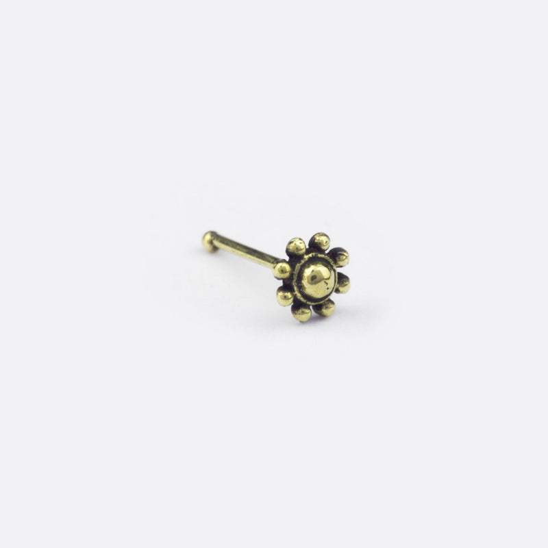 Dotted Flower Nose Stud- Bronze