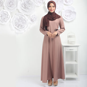 BMG36144 - HANIYA JUBAH MIX COLORS WITH FRONT BUTTON DESIGN- COFFEE