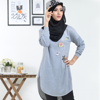 BMG42003 - HANIYA BATWING SLEEVE DESIGN WITH SPECIAL PATCHING BLOUSE - GREY