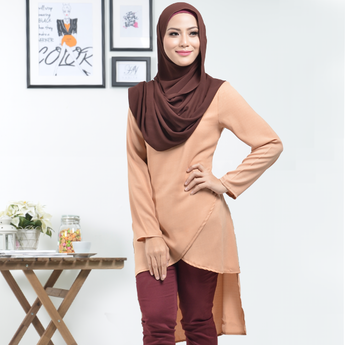 BMG42005 HANIYA SPECIAL OVERLAP FISHTAIL DESIGN BLOUSE DESIGN - LIGHT BROWN