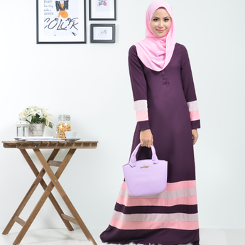 BMG42021 - HANIYA THREE TONE MIX COLOR PATCWORK DESIGN BUTTON JUBAH - DARK PURPLE