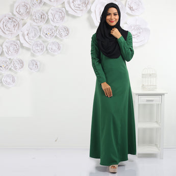 BMG36135 - HANIYA JUBAH WITH SPECIAL GATHERED SLEEVE- GREEN
