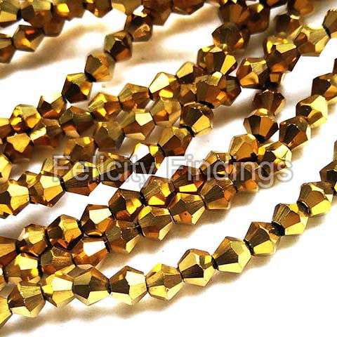 Bicone glass beads - Electroplated