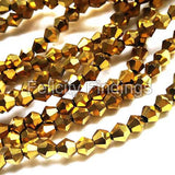 Electroplated Bicone glass beads brass gold