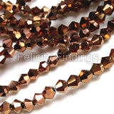 Electroplated Bicone glass beads copper