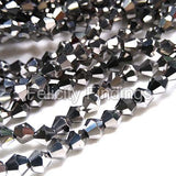 Electroplated Bicone glass beads platinum