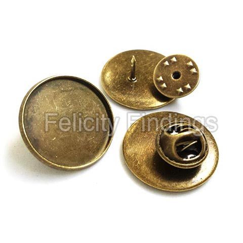 Lapel pin backs with tray (Bronze)