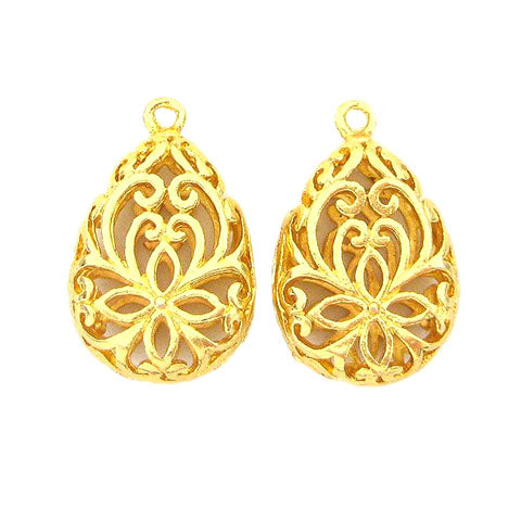 Charms (Gold plated) -  CH396G Hollow cut drop