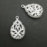 Charms (Silver plated) -  CH396S Hollow cut drop