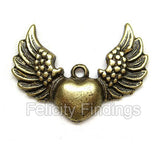 Charms (Bronze) - CH432 Heart with wings