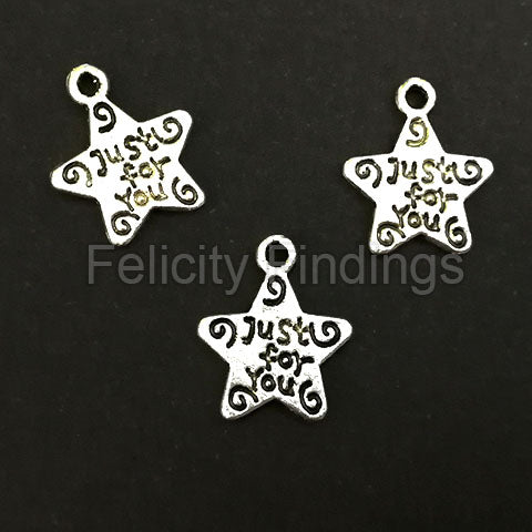Charms (Antique Silver) star -  CH534S Star Tag