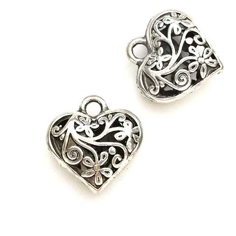 Charms (Antique Silver) - CH573S Heart hollow cut