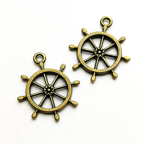 Charms (Bronze) - CH578 Ship wheel