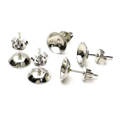 Ear stud round dish blank with ear nut (Platina plated)
