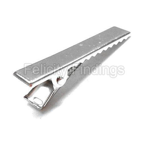 Alligator hair barrette clip (Platina plated)