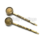 Hair pin with round bezel (Bronze)