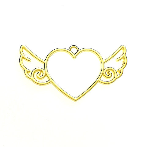 Open back bezel - Heart with wings (Gold plated)