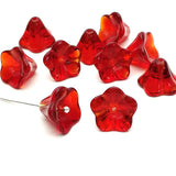 Glass bead bell flower - Red