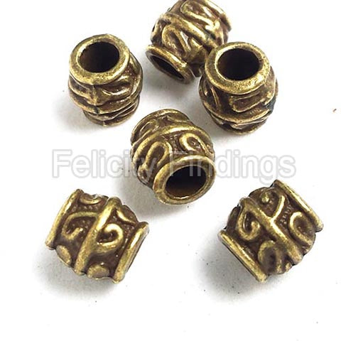 Metal barrel beads - SPB 506 Bronze