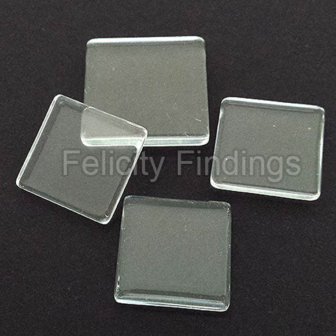 Clear glass cabochon - Square