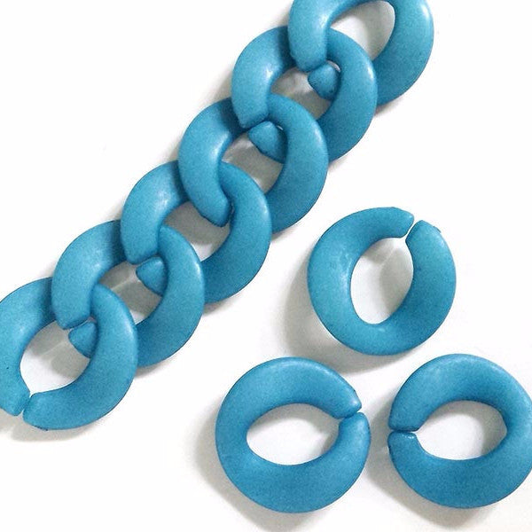 Plastic round curb links (Matt blue)