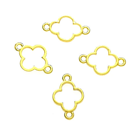 Open back bezel connector - Four leaves Clover (Gold plated)