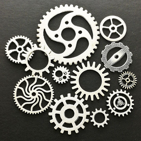 Metal steampunk gears (Antique silver)
